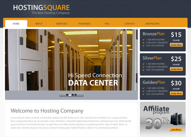 Square Host Hosting HTML Template