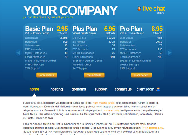 Connect Clean Hosting Template