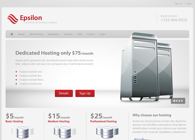 Epsilon - Hosting and Business Template