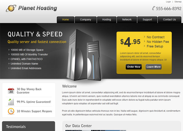web hosting template